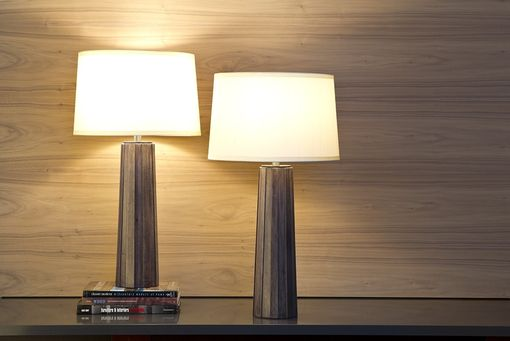 Custom Made Tapered Table Lamp In Wood