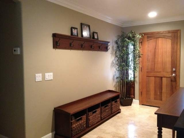Hand crafted entry bench and coat hook shelf by santini custom furniture Entryway bench and shelf