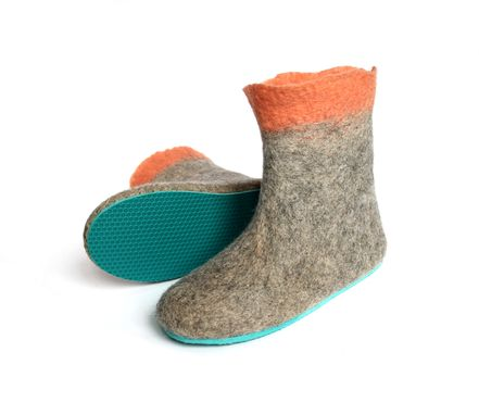 Custom Made Womens Wool Booties Gray Apricot Contrast Sole