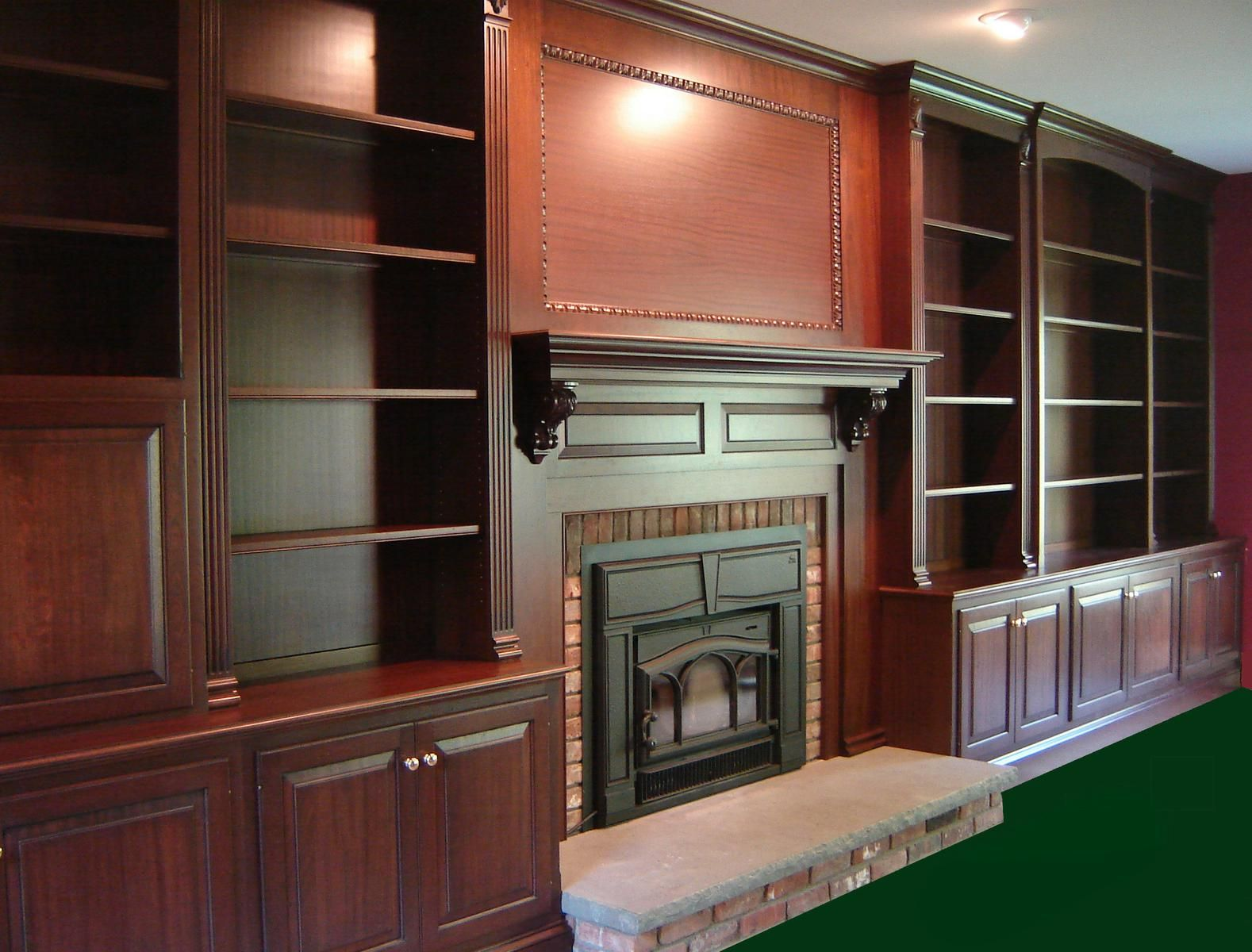 hand made mahogany fireplace wall by odhner u0026 odhner fine