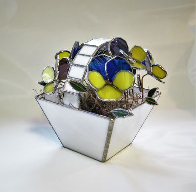 Custom Made Basket Of Pansies- Stained Glass Centerpiece- Industrial Flowers- Sculpture
