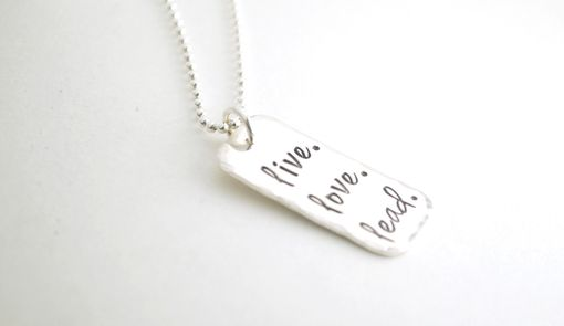 Custom Made Inspirational Hand Stamped Sterling Silver Jewelry Religious Live. Live. Lead.