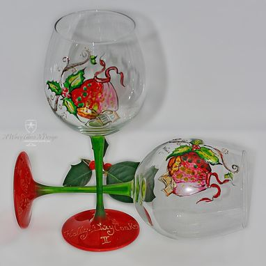 Custom Made Holly-Day Cook Hand Painted Wine Glass