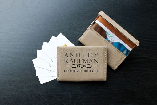 Custom Made Custom Business Card Holder --Bch-Lb-Kaufman