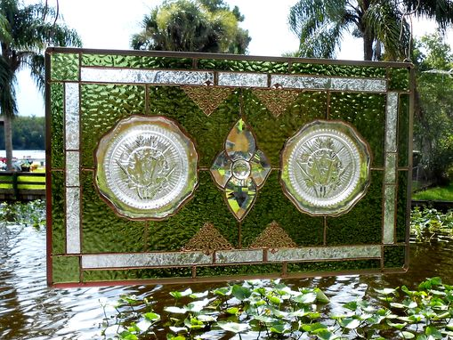 Custom Made Depression Glass Stained Glass Panel, 1930s Iris And Herringbone Plates