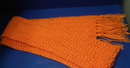 Custom Made Women's Elegant Knitted Winter Scarf With Tassels In Orange