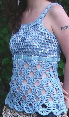 Custom Made Light Blue Openwork Top