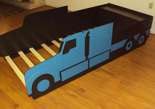 Custom Made Semi-Tractor Truck Twin Kids Bed Frame - Handcrafted - Truck Themed Children's Bedroom Furniture