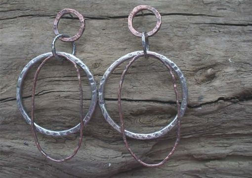 Custom Made Silver And Copper Earrings With Two Large Hoops