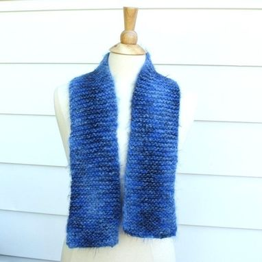 Custom Made Blue Knit Scarf Monaco Blue Winter Soft Plush Warm Blueberry