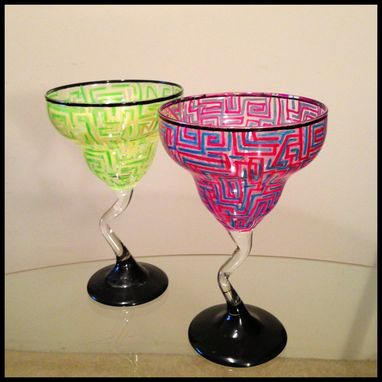 Custom Made Hand Painted Margarita Glasses. Variety Of Colors