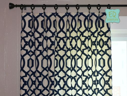 "Custom Made Custom Designer Curtain Panels Navy Linen Duralee Loop De Loop Trellis Fretwork 84""L X 50""W"
