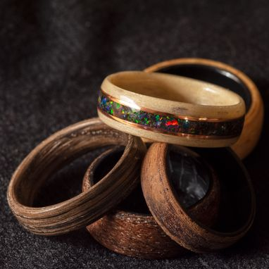Custom Made Black Fire Opal & Space Titanium Opal Mix With Two Copper Inalys In Steam Bentwood Maple Ring
