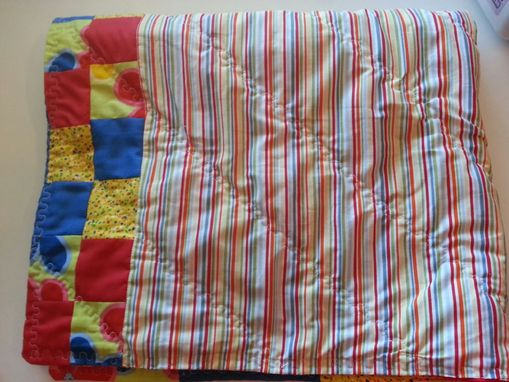 Custom Made Custom Red, Blue, Yellow Flowered Modern Baby Quilt