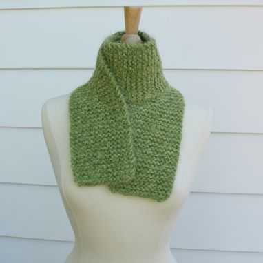 Custom Made Knit Green Winter Scarf Soft Plush Warm Mint