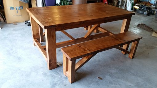Custom Made Trestle Style Farm House Pine Dinning Table