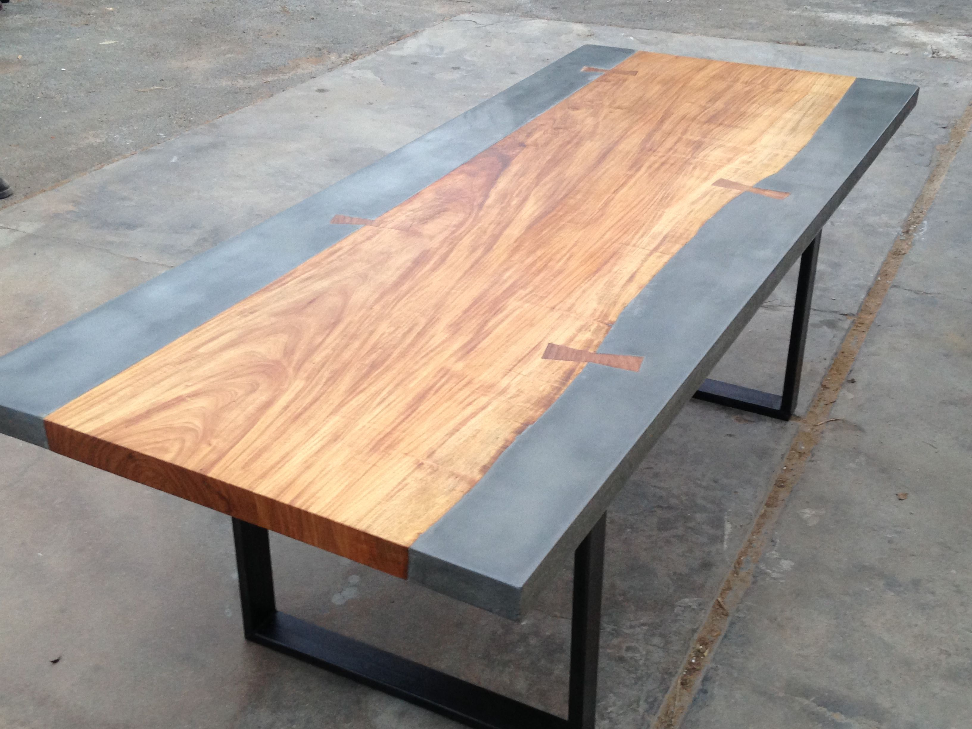 Custom Concrete And Exotic Wood Dining Conference Table By The Timber Library