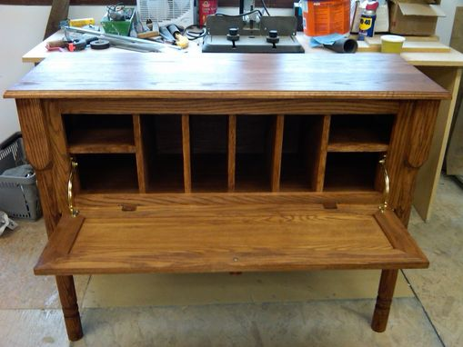 Custom Made Oak Flip Down Desk With Mail Slots