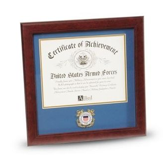 Custom Made U.S. Coast Guard Medallion 8-Inch By 10-Inch Certificate Frame