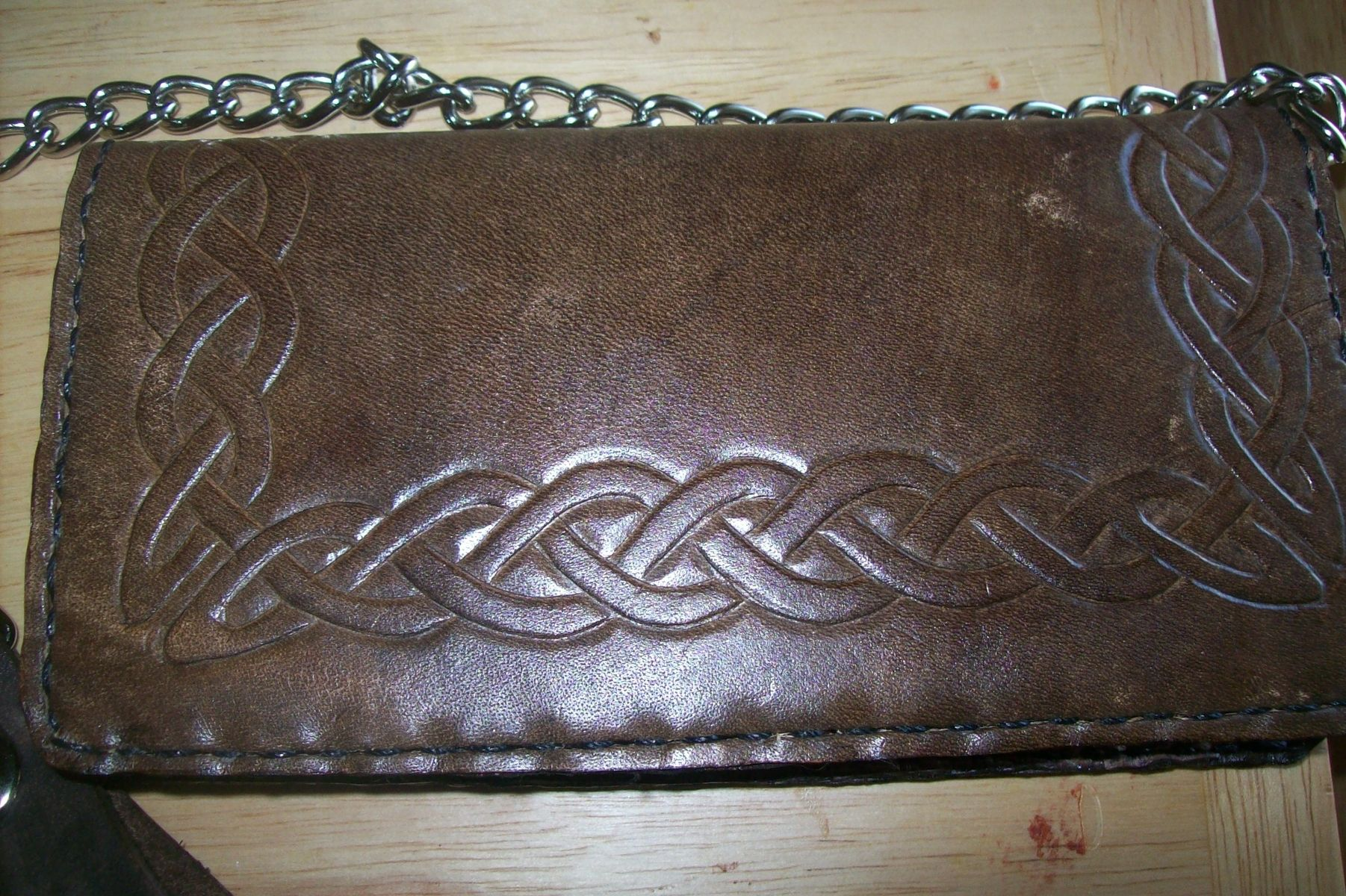ever popular various styles casual shoes Custom Leather Biker Wallet With Full Celtic Knot