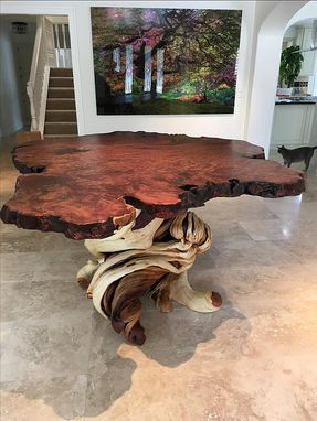 Custom Made Large Bar Bistro Liveedge Redwood Slab Juniper Furniture Log Dining Table With Malachite Stone Inlay
