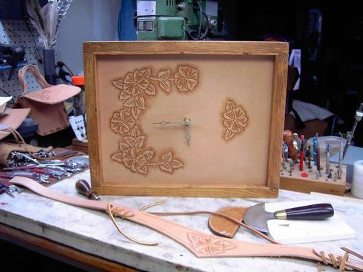 Custom Made Tooled Leather Clock