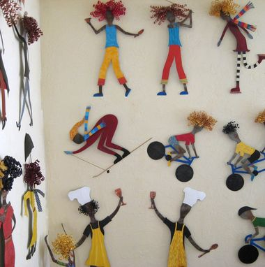 Custom Made Handmade Upcycled Metal Skier In Yellow Wall Art Sculpture