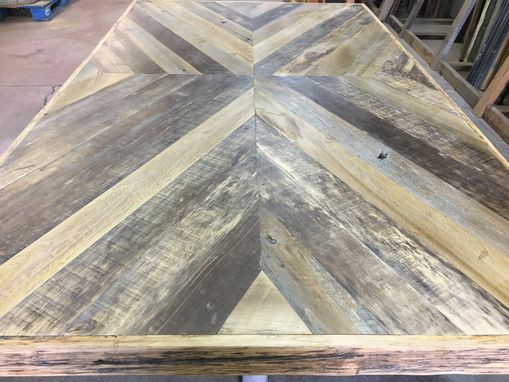 Custom Made Reclaimed Wood Chevron Dining Table