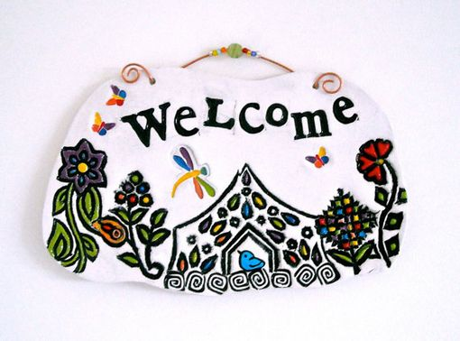 Custom Made Welcome Wall Hanging - Handmade Letterpress Stamped Pottery Plaque -
