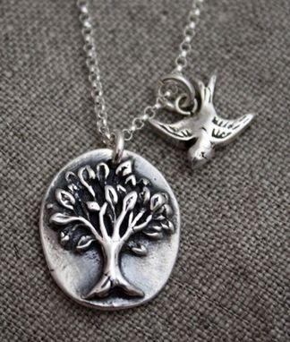 Custom Made Fine Silver Oval Tree With Little Bird Necklace