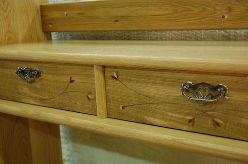 Custom Made Solid White Oak Sideboard With Floral Inlay