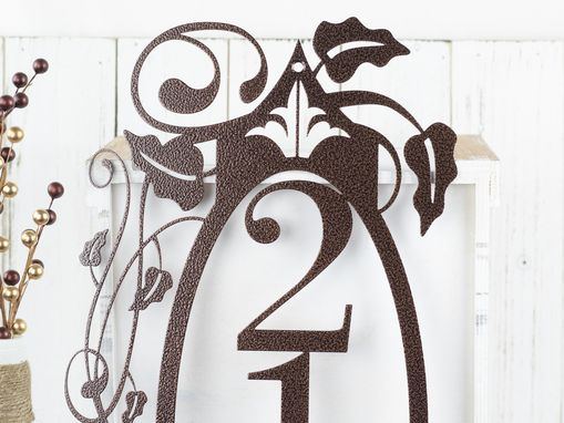 Custom Made Vertical Metal House Number Sign, Vines, 3 Digit - Copper Vein Shown