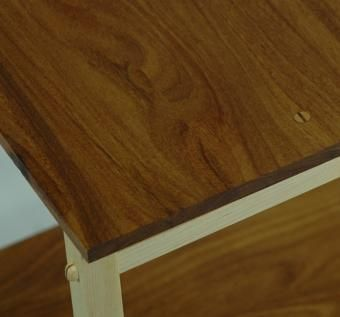 Custom Made Teak And Maple End Table.