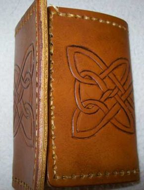 Custom Made Custom Leather Imperial Trifold Wallet With Three Celtic Design