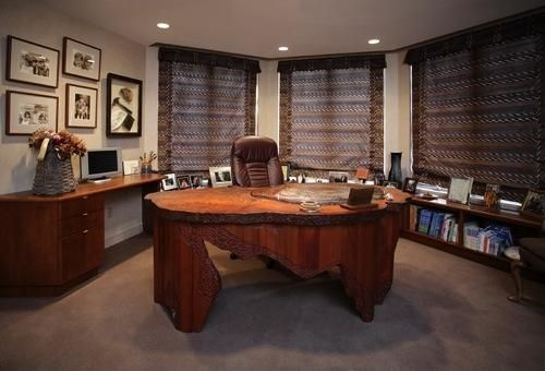 Custom Made Office With Redwood Desk Petrified Wood Work Surface