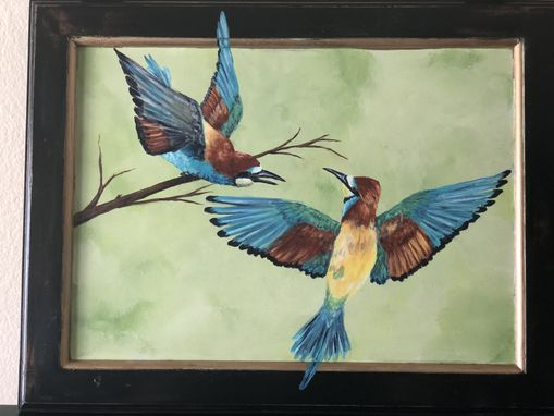 Custom Made Ruffled Feathers--Handpainted Birds On Vintage Cabinet Door