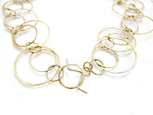 Custom Made Gold Loop Necklace - Brass Chain Necklace - Faux Gold Long Gold Chain