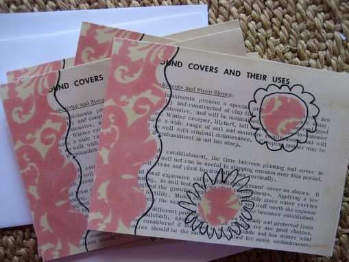 Custom Made Vintage Garden Notecard Set With Pinks