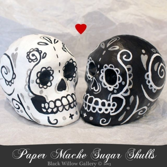 Hand Crafted Wedding Toppers Day Of The Dead Skulls Bride And Groom