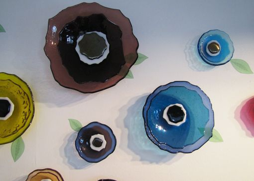 Custom Made Wall Flowers In Fused Glass
