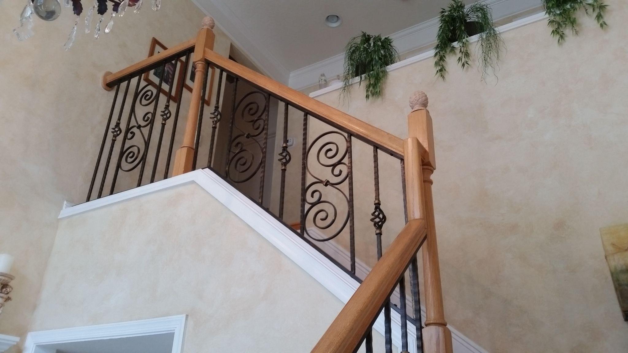 Hand Made Handmade Wrought Iron Stair Railing by Juno Ironcraft LLC