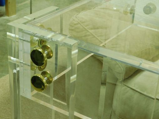 Custom Made Lucite / Acrylic Console Table - Button Line Series - Hand Crafted, Custom Sizing Welcome