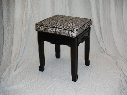 Custom Made Upholstered Vanity Stool With Ebonized Finish