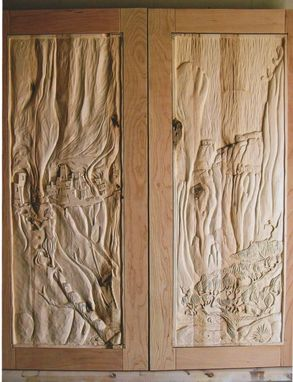 Custom Made Cabinet Doors/ Hand Carved: Canyon De Chelly Cave Dweliings