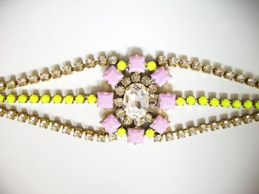 "Custom Made Pale Lilac Rhinestone Bracelet ""Lauren''"