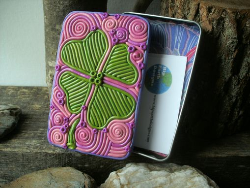 Custom Made Clover Decorative Storage Tin, Cigarette Case Or Wallet