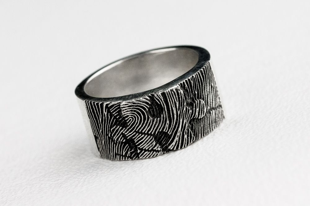 Hand Crafted Puzzle Piece Fingerprint Ring By Rock My World Inc