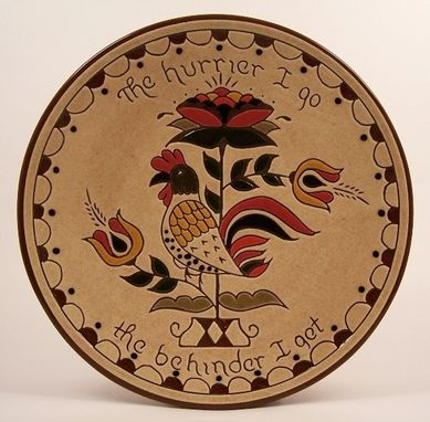 Custom Made Redware Pennsylvania Dutch Rooster Plate