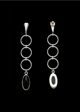 Custom Made Onyx With Sterling Silver Hoops