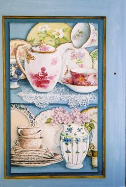 Custom Made Cabinet Painted With Trompe L'Oeil Shelves Filled With China Pieces